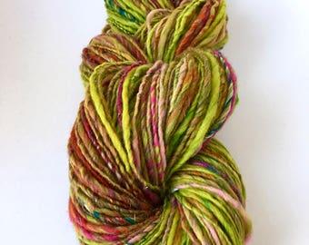 Handspun Yarn, Art Yarn, Worsted, Thick and Thin, Single Ply, Wool, Polwarth, Organic, Strawberry Lime