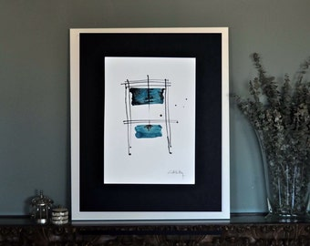 Minimalist original painting. With ink and blue-green