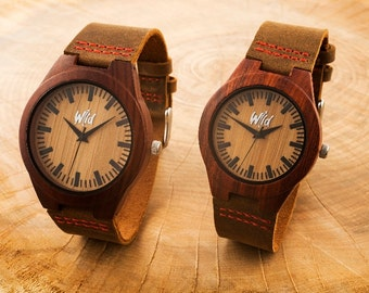 FREE Engraving, Wood Watches, Couples Gift, Wedding Gift, Mens watch, watch giftset, Husband Gift, Anniversary Gift, gift for her, SM112 -13