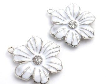 Silver Plated White Enamel Flower with Rhinestone Center Charm- Set of 2