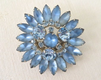 Vintage Brooch, Blue Moonglow Rhinestone Pin, Rhodium Setting, Starburst Celestial Jewelry