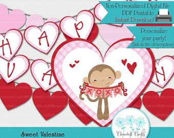 Sweet Valentine - Happy Valentine's Day - Printable Party Banner