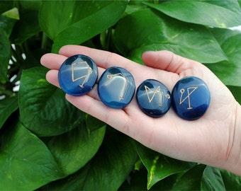 4 Pcs Blue Onyx Gemstone Engraved Archangel Symbols Set ~ Reiki ~ Chakra ~ Healing ~ Spiritual ~ Meditation ~ Aura ~ Protection ~ Guidance