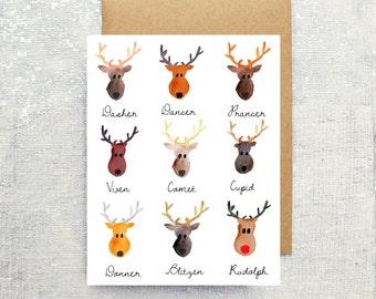 Reindeer Mugshots Watercolor Holiday Single Card: (Blank Inside)