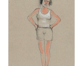 Woman portrait drawing original art illustration figurative people sport pencil pastel