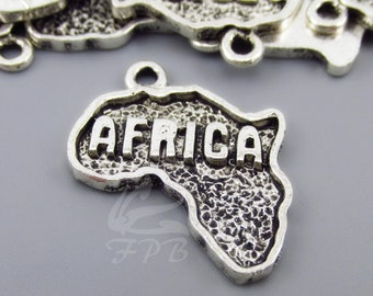 5 Africa Charms 24mm Wholesale Antiqued Silver Plated Continent Silhouette Pendants SC0078774