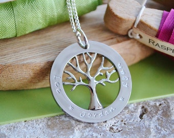 Hand Stamped family tree hand stamped personalised