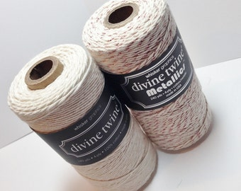 FULL SPOOLS - Bakers Twine - Rose Gold Vintage Paired with Natural - TWO Colors - Divine Twine - 480 Yards Total