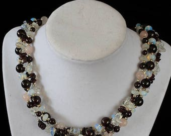 Handcrafted Garnet and Moonstone Necklace
