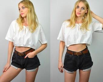 Vintage 70s White Cotton Bohemian Summer Crop Top