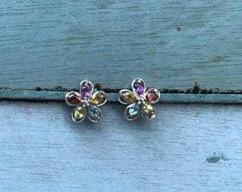 Sterling Silver Sparkly Crystal Flower Post a Stud Earrings 2.5g