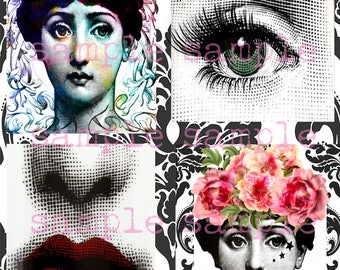 Fornasetti Art Digital Collage Sheet instant Digital Download Fornasetti Lina Cavalieri Portrait Printable Vintage Face
