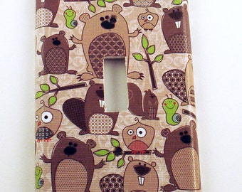Light Switch Cover  Switchplate  Single Toggle Switch Plate in Forest Friends   (085S)