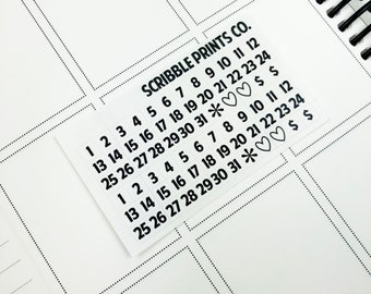 Black Date Squares (Glossy Planner Stickers)