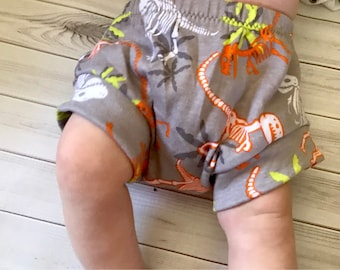 Dinosaur gray toddler, baby bloomers, bummies, shorts diaper cover preemie, newborn, 0-3, 3-6, 6-9, 9-12, 12-18m, 18-24, 2T 3T 4T 5T