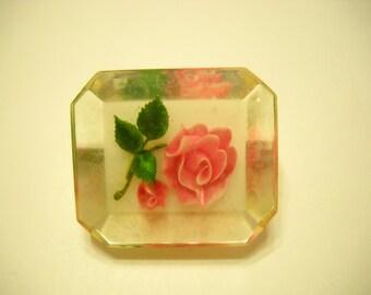 Vintage Lucite Rose Brooch (8772**)