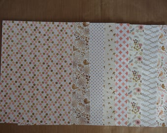 """8 scrapbooking papers with glitter / 5.75 x 8.25 """"(14.8 cm x 21 cm)-set no. 1"""