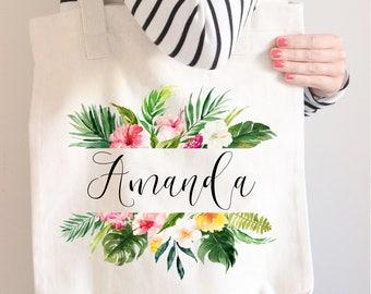 Bridesmaid Tote Bag, Tropical name tote, Bridesmaid Gift, Personalized tote, Monstera Tote Bag, Wedding bag, Beach Tote bag, Bright tote bag