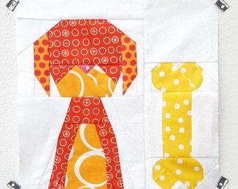 Dapper Doggy paper piecing pattern - dog quilt block - puppy quilt