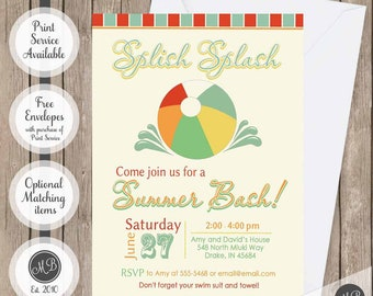 Summer bash invitations, pool party invitation, beach party invitation, splish splash invitation, family invitation, vintage pool party