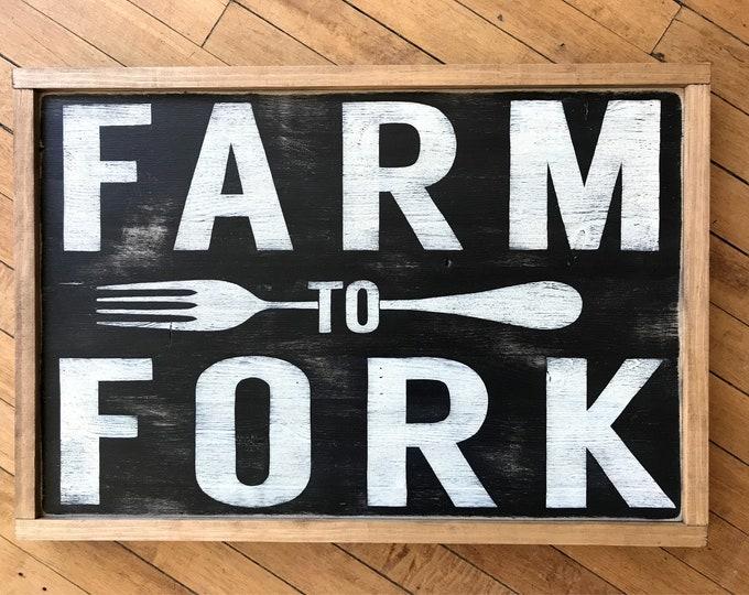 Farm To Fork Sign | Farmhouse Sign, Farmhouse Decor, Hand Painted