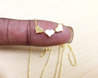 """Tiny Gold or Rose Gold """"Heart Trio"""" Three Heart Necklace - Dainty, Simple, Birthday Gift, Wedding Bridesmaid Gift"""