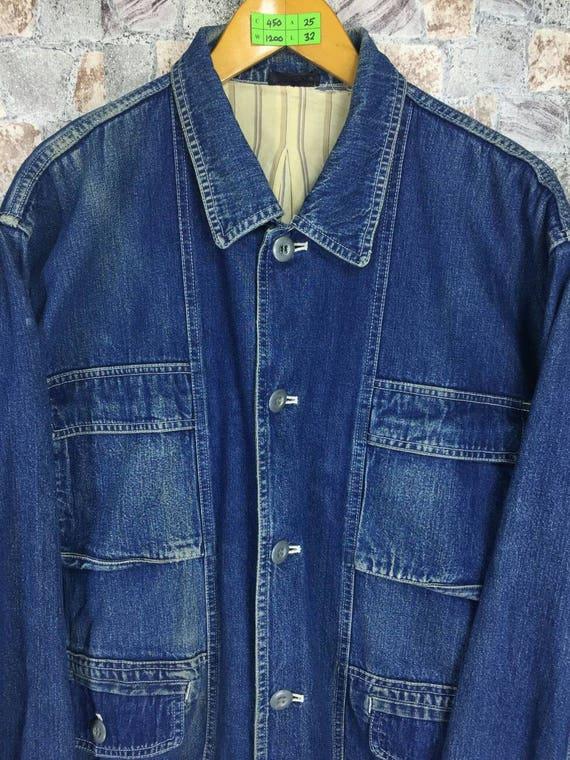 Workwear Large Denim Jacket Worker Du Comme Japan Made Union TETSU Jeans Mode Size L 80's Vintage Ca Button Jacket Bomber Jacket Jacket TXxYvvn0