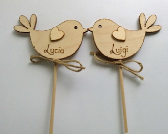 Personalised Wedding Cake Topper Bird Cake Topper Wooden Cake Topper