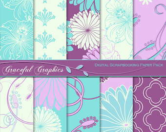 Scrapbook Paper Pack Digital Scrapbooking Background Papers 10 Sheets 8.5 X 11  DAMASK Lilac PURPLE Turquoise FLOWERS and SWIRLs 1086gg