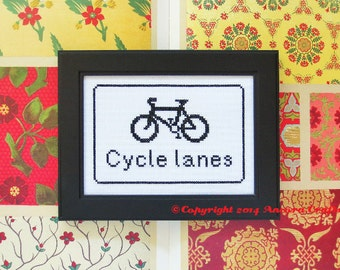 Bicycle Lanes Road Sign Cross Stitch Kit