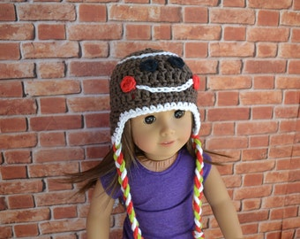 18 inch Doll Clothes - Crocheted Beanie with Ear Flaps - Gingerbread Boy - Holiday Style - MADE TO ORDER - fit American Girl