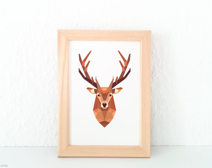 Stag print, Stag head wall art, Deer illustration, Geometric deer, Wildlife art, Forest animal art, Woodland animals, Animal art for nursery
