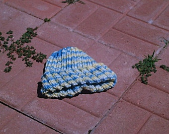 Ribbed Knitted Hat in French Country Color Palette