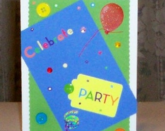Celebrate Blue Blank Greeting Card - Party, Celebration, Birthday, Congratulations, Red, Blue, Purple, Yellow, Green, Orange, All Occasion