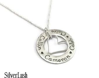Hand Stamped Mother's Necklace with Four Names - Sterling Silver Mommy Jewelry
