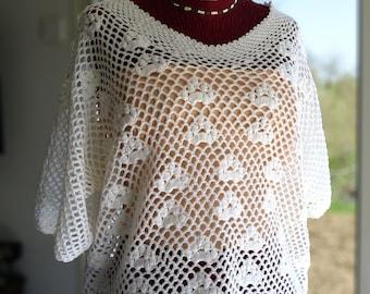 Crochet White T-40-44 T-shirt