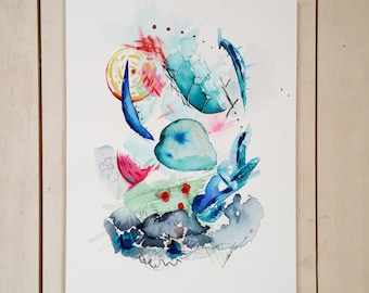 Abstract watercolour, turquoise, whimsical painting, modern art, colorful watercolor, gallery wall art, living room decor, child's room