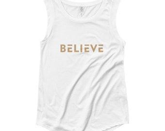 Women's Believe Muscle Tee Tank Top (Gold)