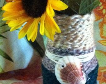 Yarn Wrapped Jar Twine and Sea Shell