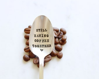 Still Having Coffee Together - Hand Stamped - Vintage Friendship Gift - Going Away Gift - gift for friends who are moving away