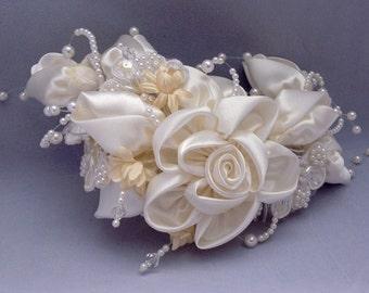 SALE Bridal Headpiece Wedding Supply Boho Bridal Headpeice Satin Bridal headpiece