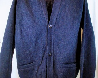 Vintage Robert Bruce Cardigan - Navy Blue Sweater - Grandpa Sweater - Men's Size Medium - Unisex - NWT - New With Tags
