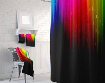 Rainbow Shower Curtain Art Curtain Home Decor Bathroom Curtain 71x74 inch Curtain Decor Curtain Rainbow Colorful Curtain