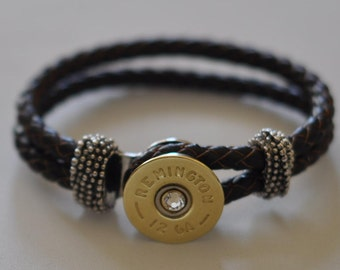 Remington 12 Gauge Shotgun Shell Brown Leather Bracelet Braided  Interchangable Bullet Custom Made in the USA Shotgun Shell Jewelry