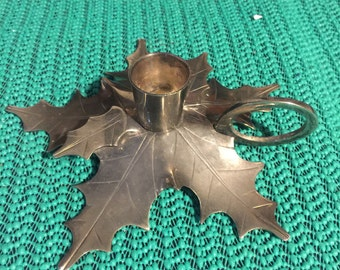 Metal Poinsettia Taper Candle Holder - Candlestick