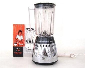 """Hamilton Beach Blender Chrome Base, Plastic Jar """"Cookbook Blender"""" #219 1960s Small Appliances"""