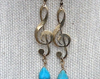 Treble Clef Earrings, Musical Note Earrings, Music Earrings, Women Earrings, Treble Clef Jewelry, Music Symbol Charm,