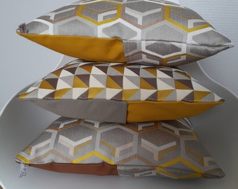 The patterned pillow cover geometric mustard yellow and beige