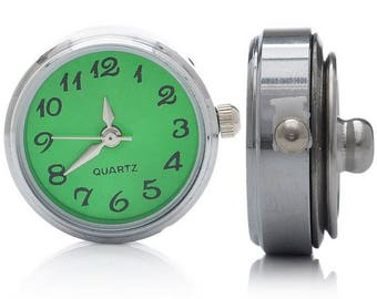 """watch face, type """"chunk"""" snap button, silver"""