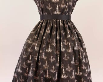 Made to Order - Lolita Fashion - Long Skirt OP Chandelier Print Black and White